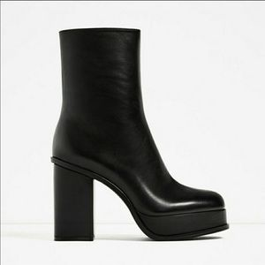 ZARA black leather platform heels